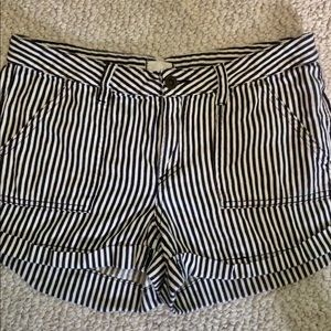 Pants - Striped Black and White Shorts